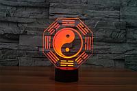 """3D светильник ночник """"Инь и Ян"""""""