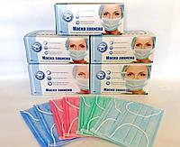 Медицинские маски Одетекс, трехслойные, 50 шт/уп, защитные, паяные, заводские