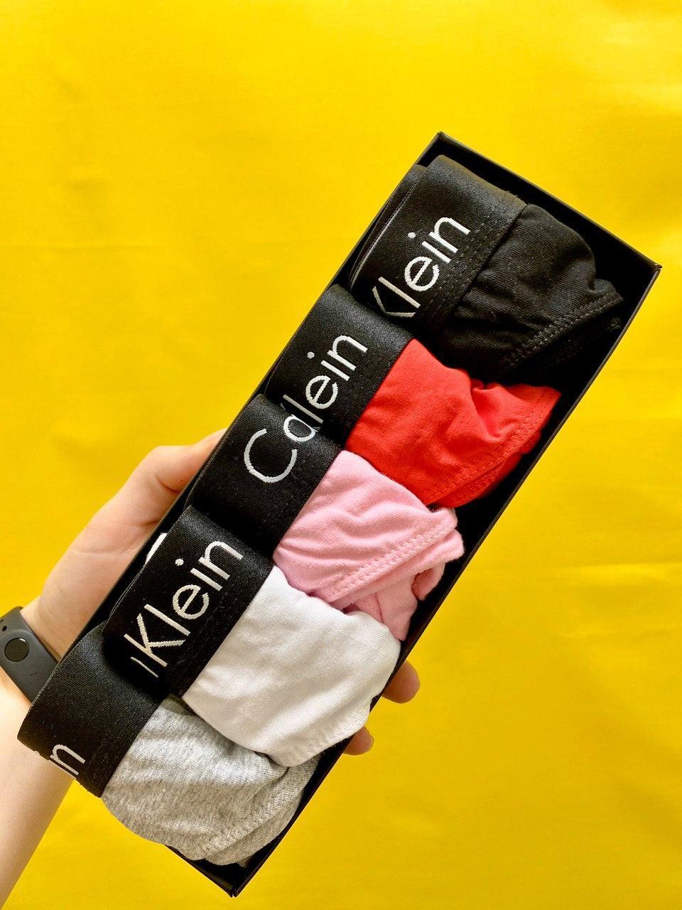Набор женских стрингов СK с чёрной резинкой (5 штук) (реплика)