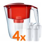 Фильтр-кувшин Аквафор Океан красный с четырьмя картриджами В100-8 Фильтр для воды