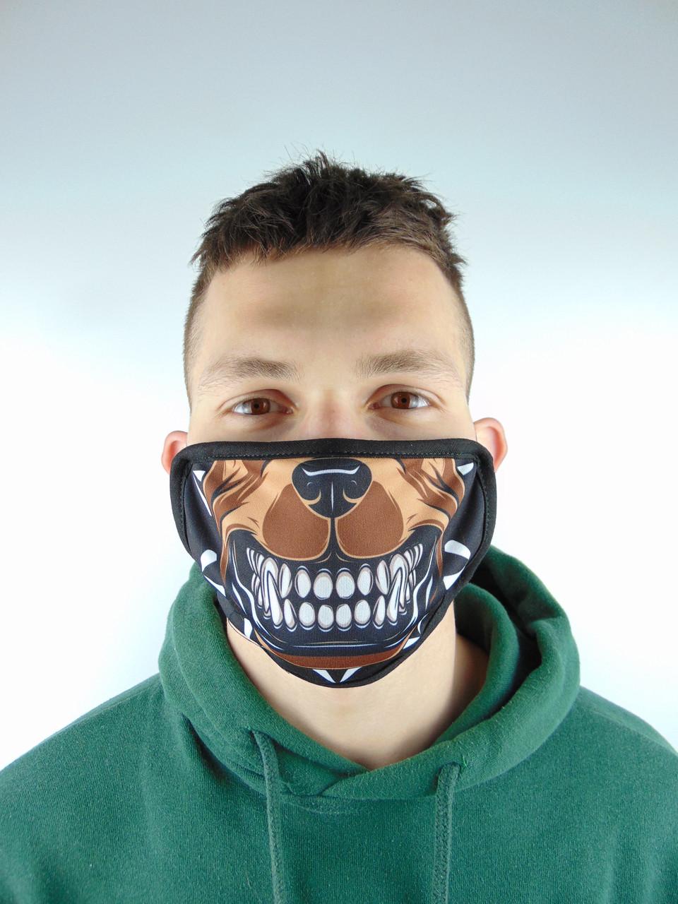 Защитная маска с принтом Пит буль многоразовая с рисунком лицо собака бульдог принт  хлопок (Двухслойная)