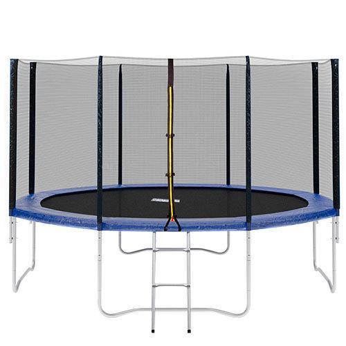 Батут Profi MS 0822 Black Blue защитная сетка, лестница.