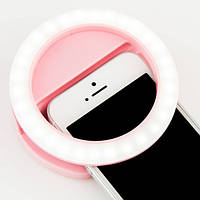 Светодиодное селфи-кольцо на батарейках Розовое! Хит продаж