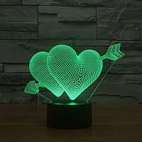 Настольный электрический светильник с 3D эффектом   3D ночник с объемным оптическим эффектом! Хит продаж