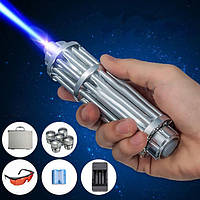 Лазер LASER B017, Лазерная указка с насадками в кейсе, Лазер сверхмощный в кейсе,! Хит продаж