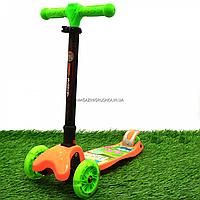 Самокат трехколесный детский (ПУ колеса, тихие, светящиеся, с фонариком на руле) 40100, фото 1