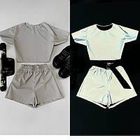 Костюм женский актуальная светоотражающая плащевка футболка и мини шорты Db2221