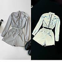 Костюм женский бомбер и мини шорты из актуальной светоотражающей плащевки Db2223
