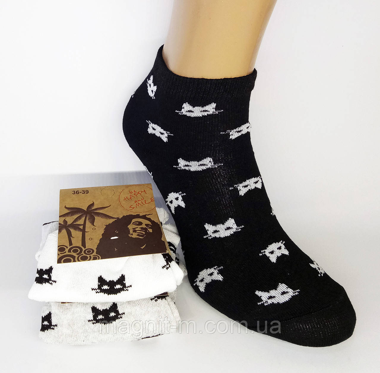 Літні укорочені жіночі шкарпетки. Котики. (Роздріб).