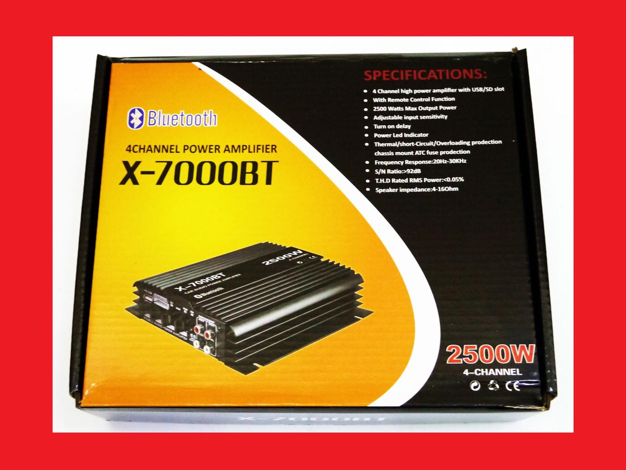 Підсилювач X-7000BT - Bluetooth, USB,FM,MP3! 2800W 4х канальний
