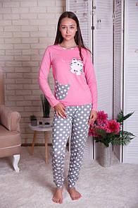 """Красива жіноча піжама з котиком і штанами в горошок """"Діксі"""""""