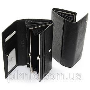 Женский кожаный кошелек, клатч, портмоне Dr Bond на кнопке. Из натуральной кожи Черный, фото 2
