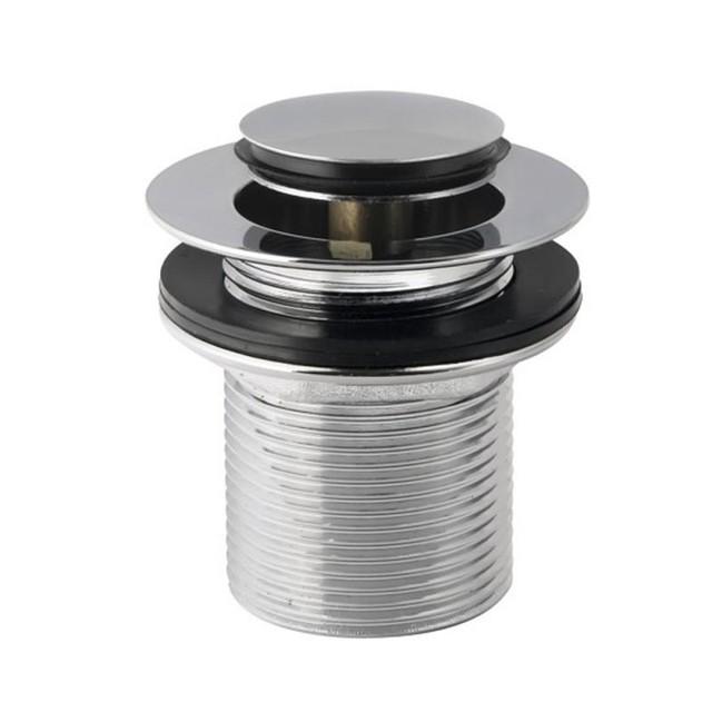Пробка - сифон Click Clack с переливом 75 мм (донный клапан, слив) хром