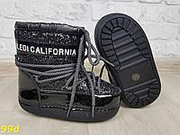Детские зимние мунбутсы луноходы Moon boots черные с эффектом битого стекла Калифорния 29-35, фото 1