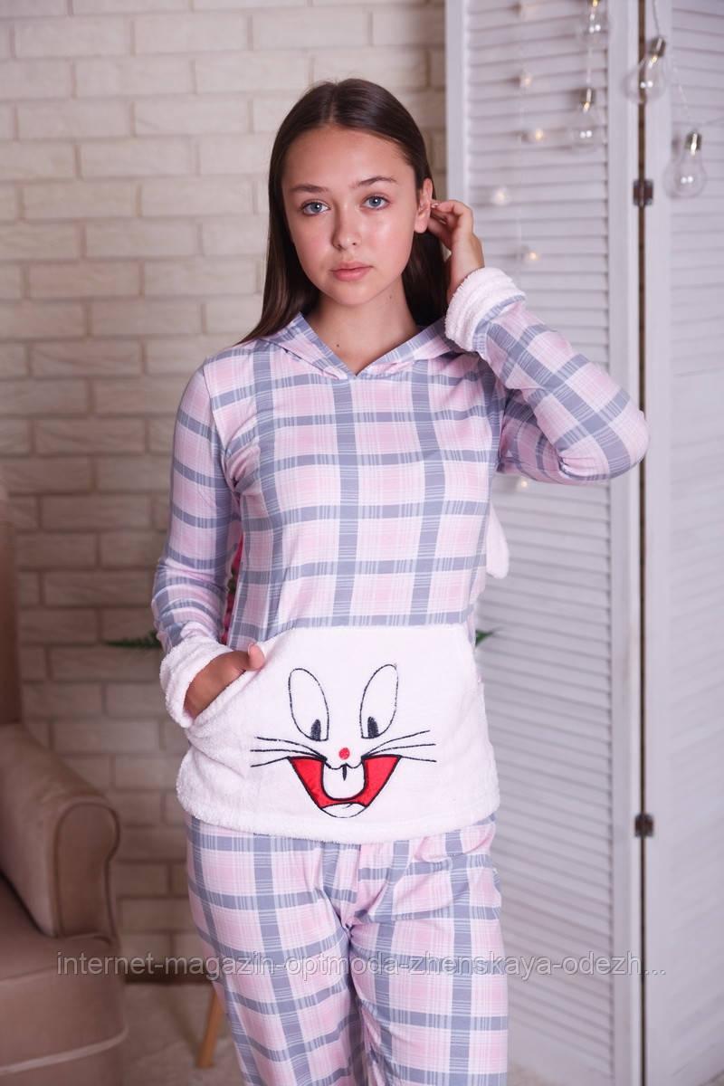 Жіноча піжама в клітку з накладною кишенею, бавовна, розмір С, М, Л, ХЛ