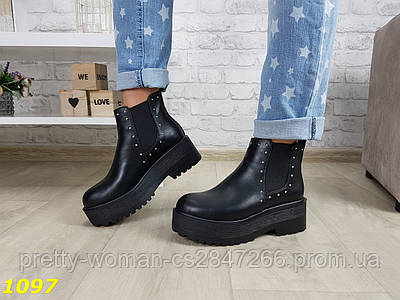 Ботинки броги на платформе челси демисезон черные