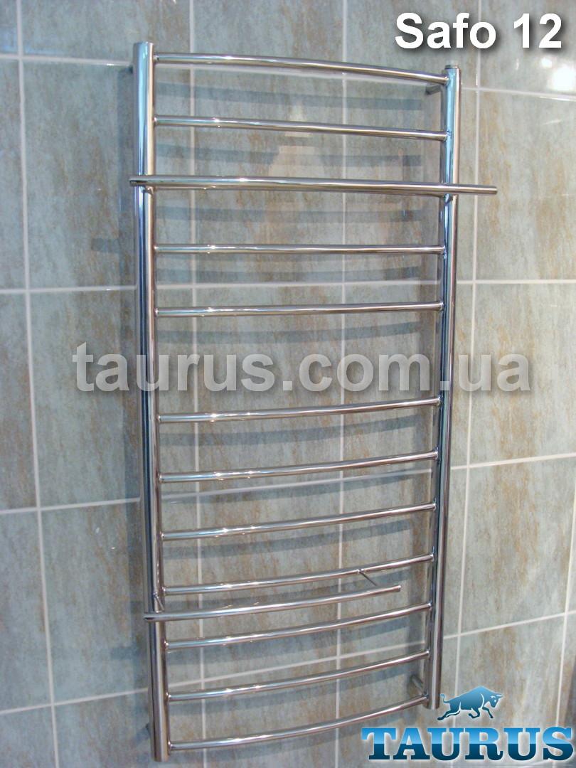 Великий вузький нерж. полотенцесушитель Safo 12/1100х400 для ванної кімнати. Виступаючі полиці 2шт. d16