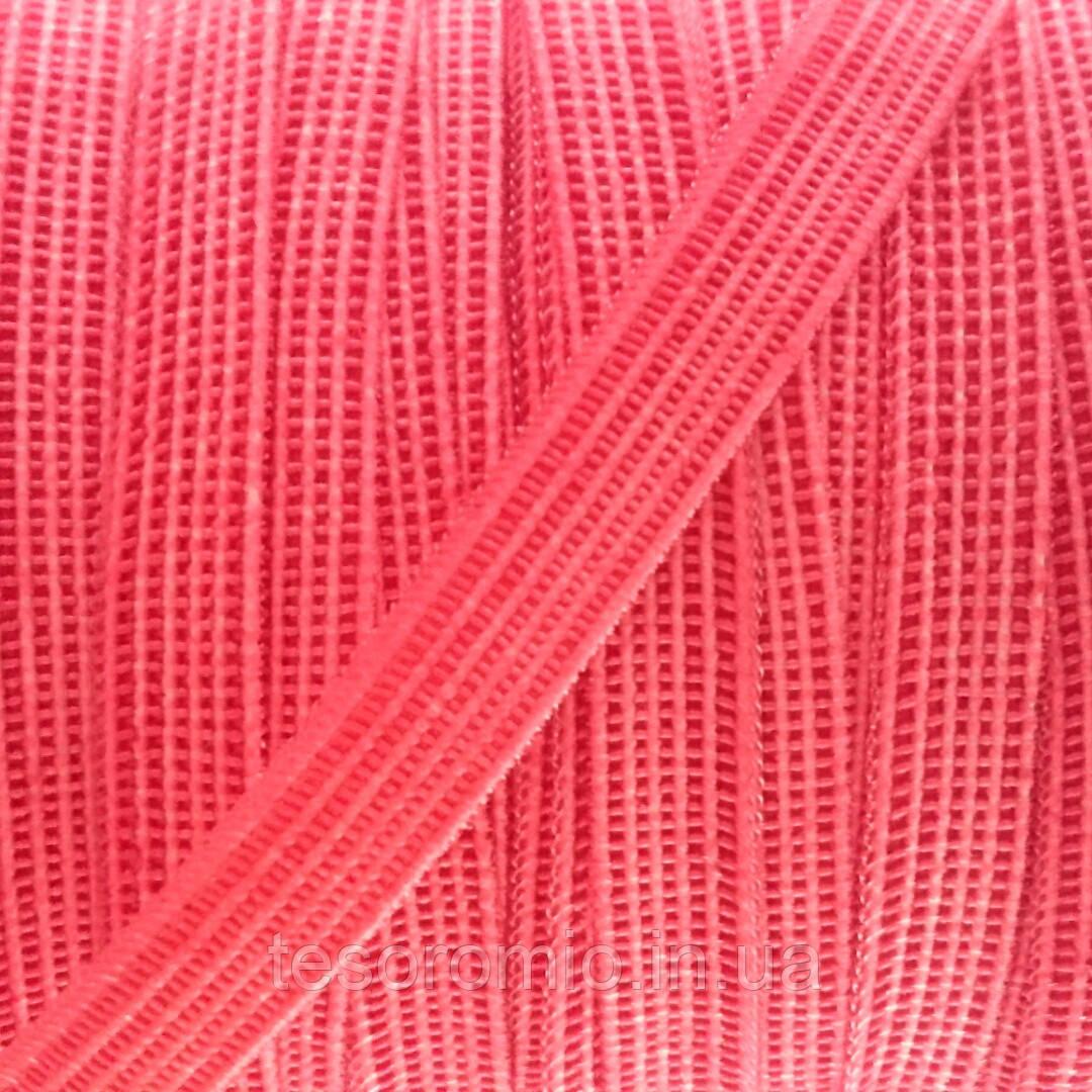 Резинка бельевая, тонкой фактуры, мягкая, коралловая, ширина 6,5 мм.