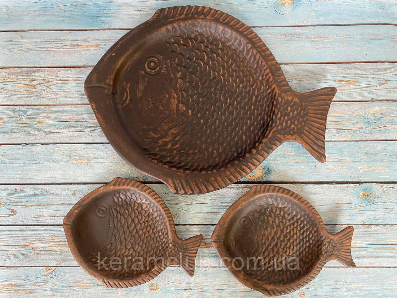 Набір Суші сет Керамклуб рибка 35 см і 2 рибки 18 см з червоної глини