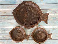 Набір Суші сет Керамклуб рибка 35 см і 2 рибки 18 см з червоної глини, фото 1