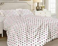 """Двуспальный комплект постельного белья,  """"Розовые и серые звезды на белом"""", поплин"""