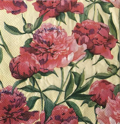 Серветка для декупажу 33х 33 см квіти піони, фото 2
