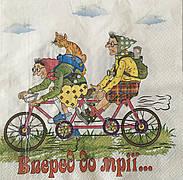 Серветка для декупажу 33х 33 см бабусі на велосипедах