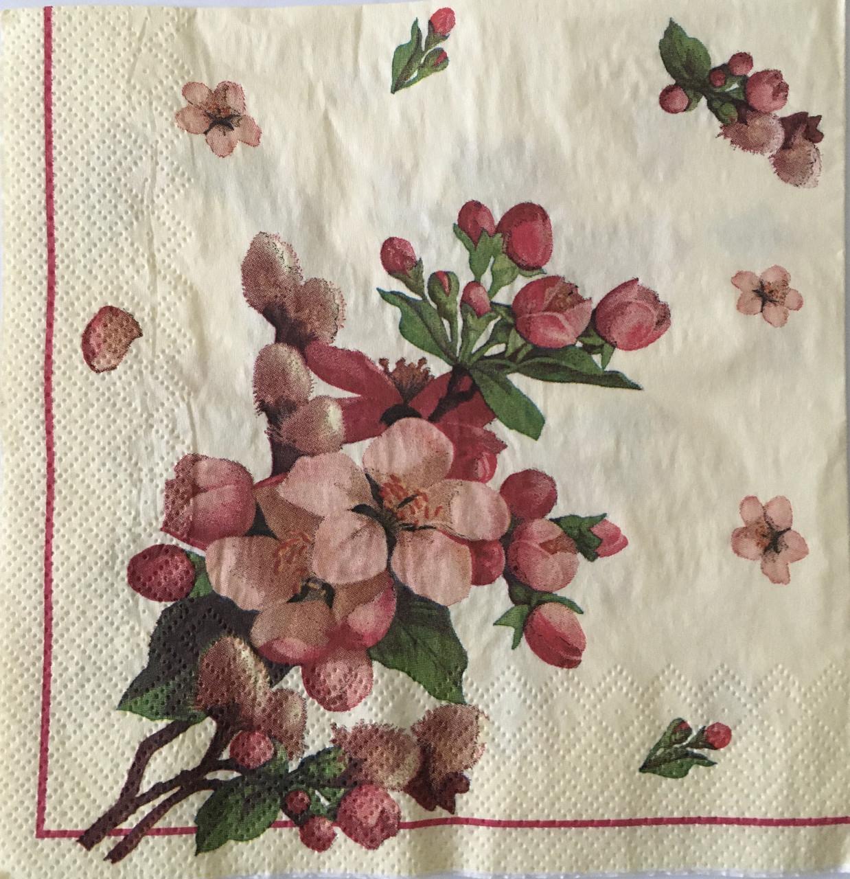 Салфетка для декупажа  33х 33 см цветы орхидеи