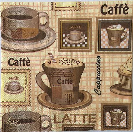 Серветка для декупажу 33х 33 см кави caffe cappuccino, фото 2