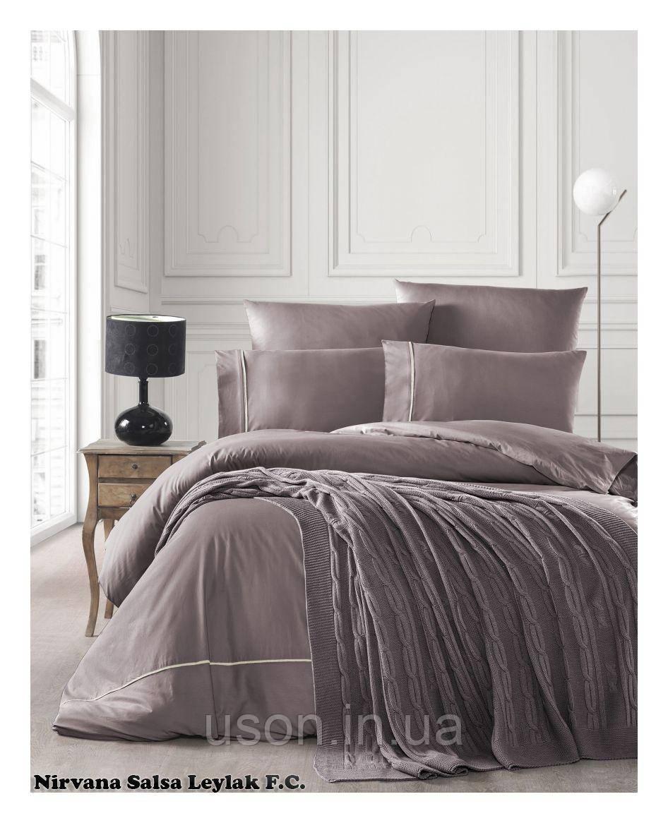 Комплект постельного белья  first choice евро размер c пледом Nirvana salsa leylak