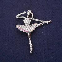 Брошь Балерина в стразах тематическая 50х41мм Mir-33223