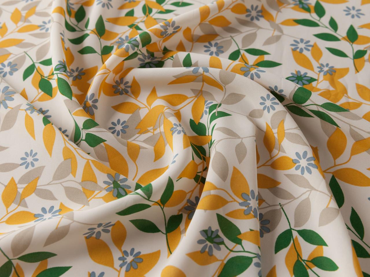 Ткань Шифон вискоза лиственная сказка, зеленый с оранжевым