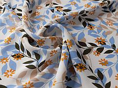 Ткань Шифон вискоза лиственная сказка, голубой с коричневым