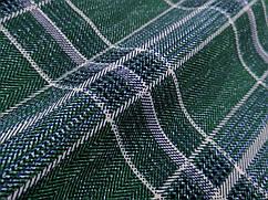 Креп костюмка диагональ клетка 85 мм, зеленый
