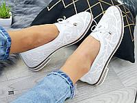Ошатні жіночі туфлі білі, шкіряні, фото 1