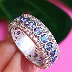 Серебряное кольцо с цирконием - Кольцо брендовое с голубыми камнями родированное серебро