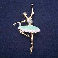 Брошь Балерина эмаль цвет металла золото Mir-33590