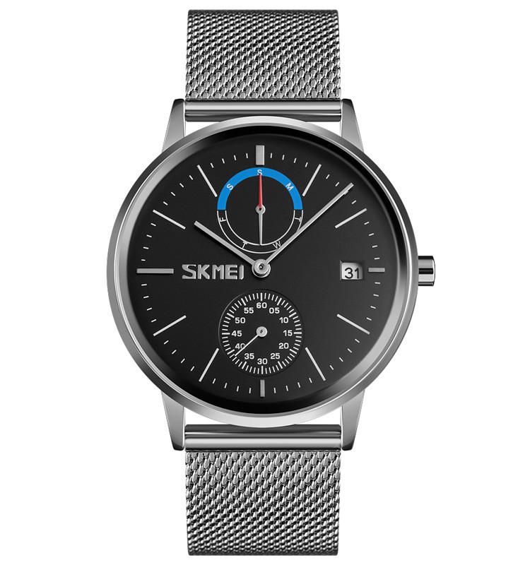 Skmei 9182 серебристые с черным циферблатом мужские часы