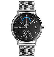 Skmei 9182 серебристые с черным циферблатом мужские часы, фото 1
