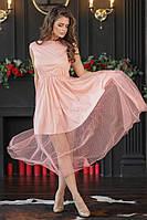 Красивое приталенное женское платье с отделкой сетки 42, 44, 46, 48