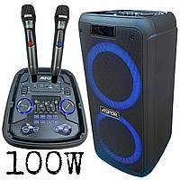 Bluetooth колонка 100W PARTY SPEAKER A668 (караоке станция на 2 микрофона)