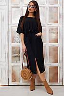 Черное платье миди на короткий рукав з разрезом