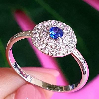 Срібне кільце-оберег від наврочення - Жіноче кільце-оберіг Синій очей