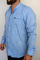 Стильная мужская рубашка  лен Турция    Батал  54р-60р, фото 1