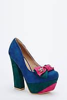 Туфли женские на высоком каблуке с бантом черные / синие / коричневые / розовые / красные / зеленые
