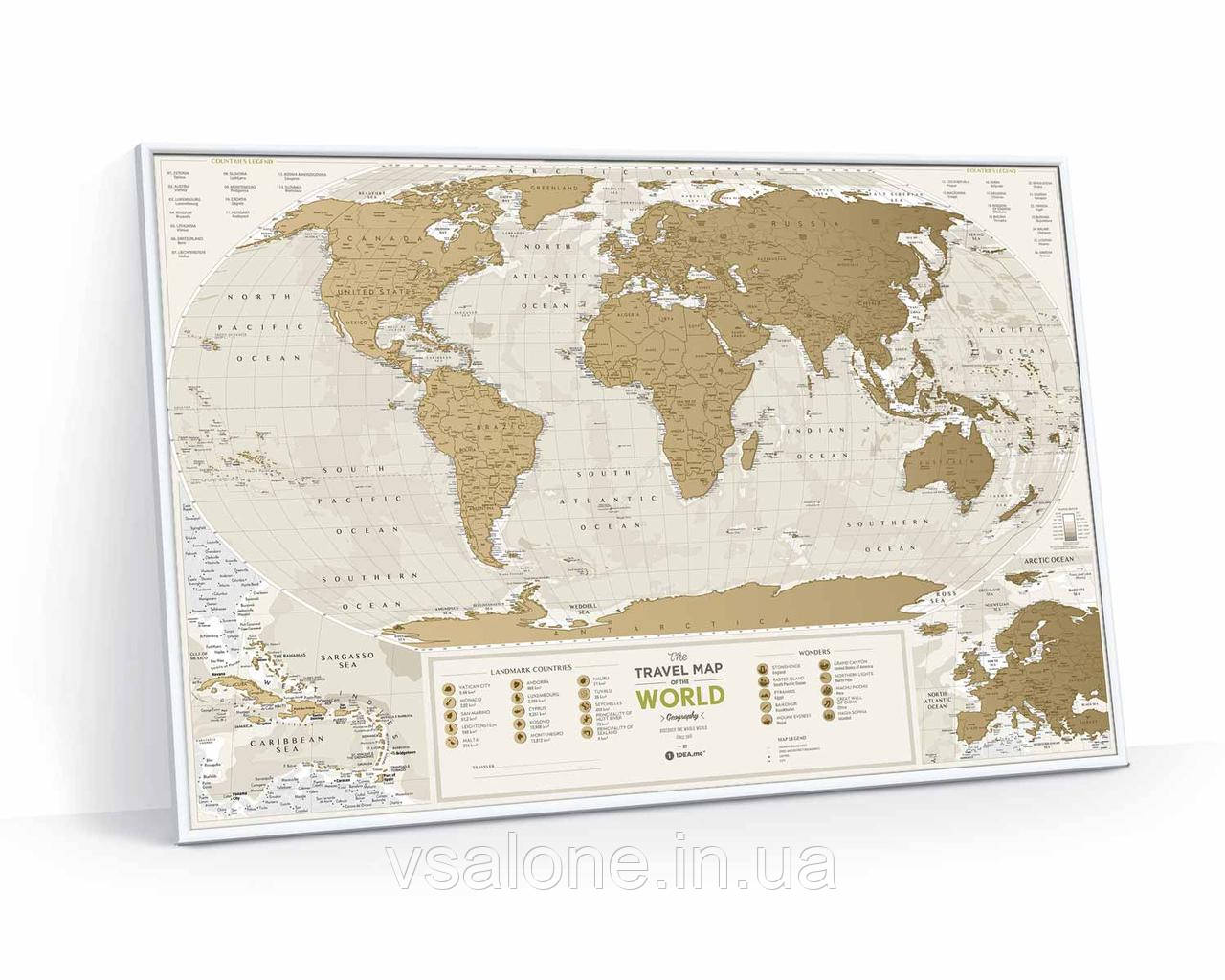 Скретч карта мира Travel Map Geography World (англ) (тубус)