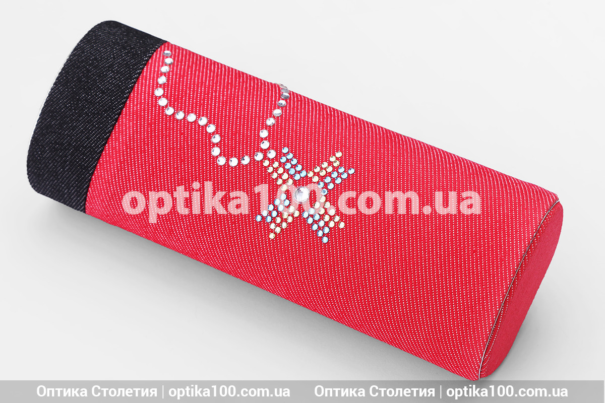 Джинсовый футляр для очков ТУБУС со сразами. Красный