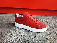 Стильные женские красные замшевые кеды кроссовки 36-41 р-р, фото 1