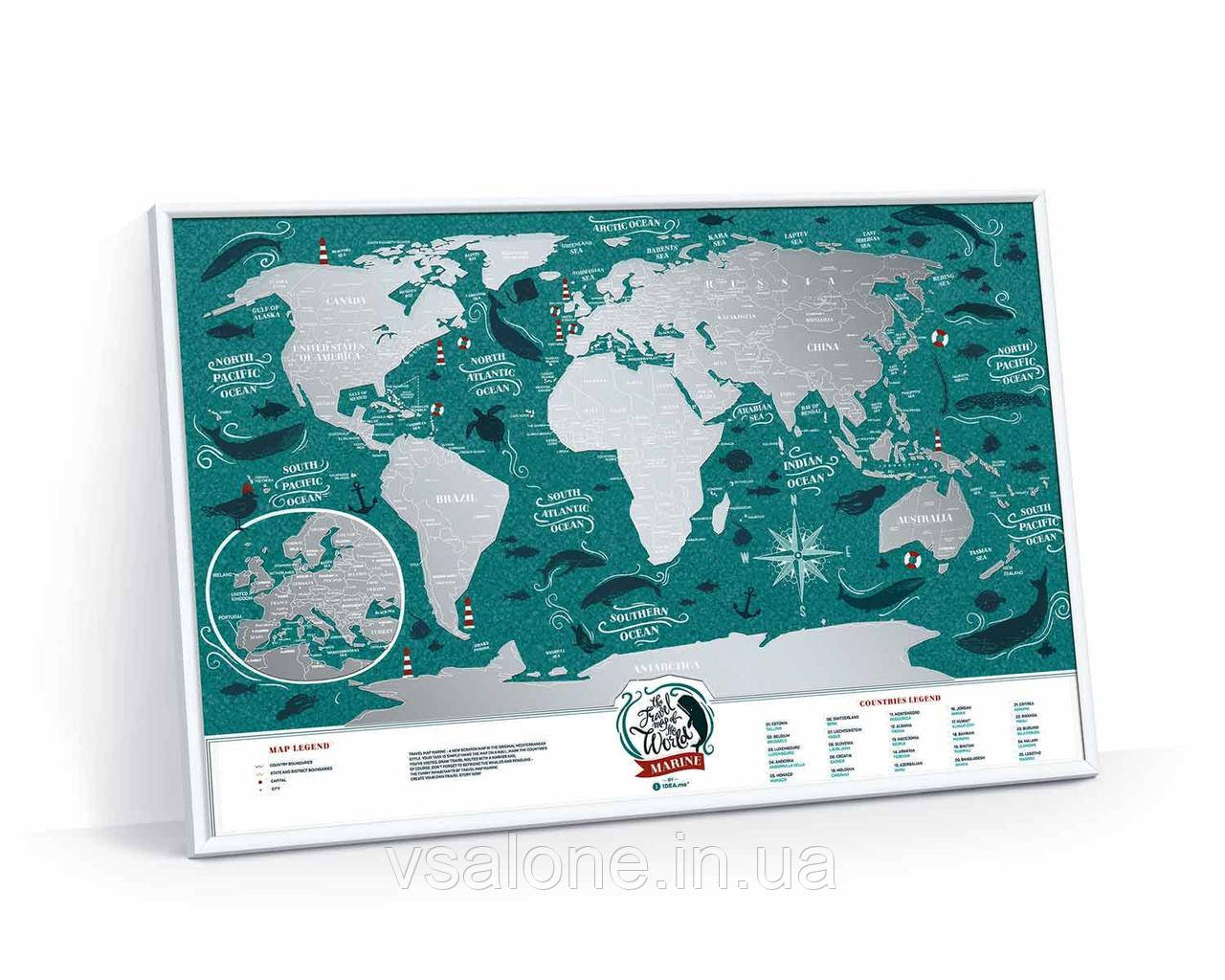 Скретч карта світу Travel Map Marine World (англ) (тубус)