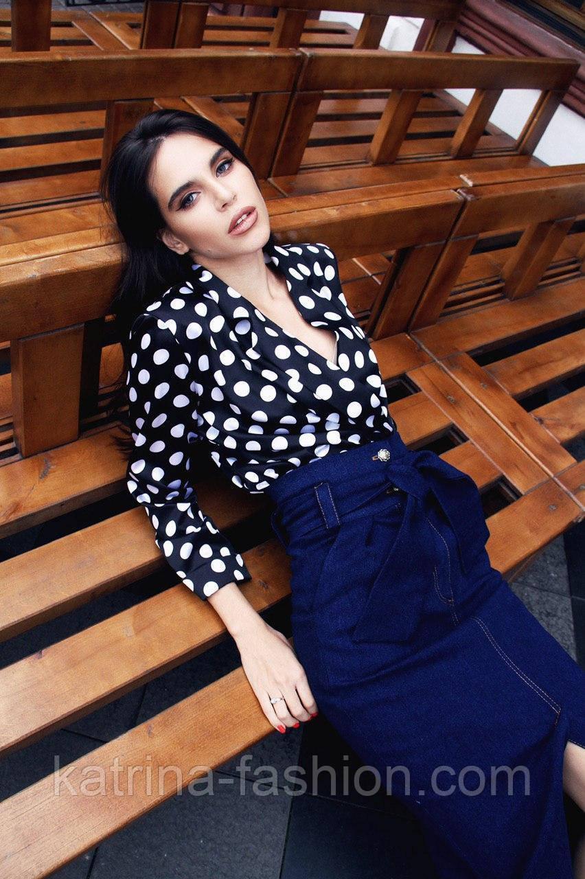 Женская стильная блуза в крупный горох